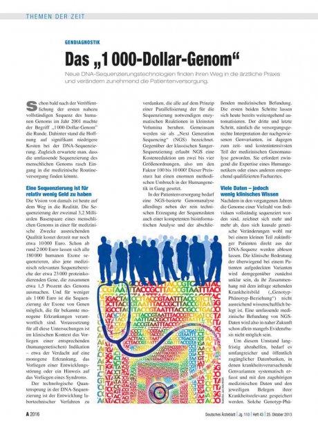 "Gendiagnostik: Das ""1 000-Dollar-Genom"""