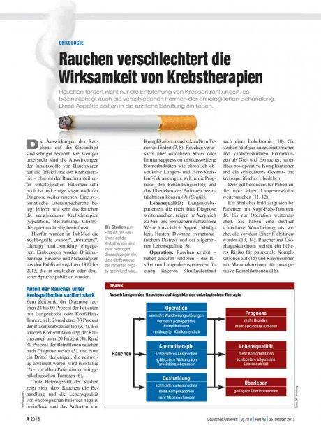 Onkologie: Rauchen verschlechtert die Wirksamkeit von Krebstherapien