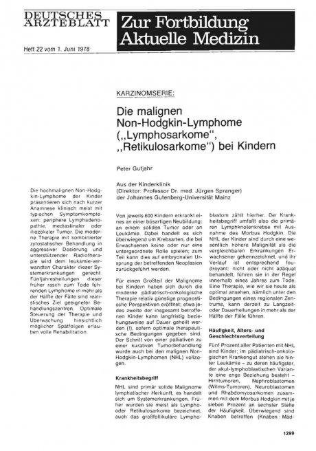"Karzinomserie: Die malignen Non-Hodgkin-Lymphome (""Lymphosarkome"", ""Retikulosarkome"") bei Kindern"