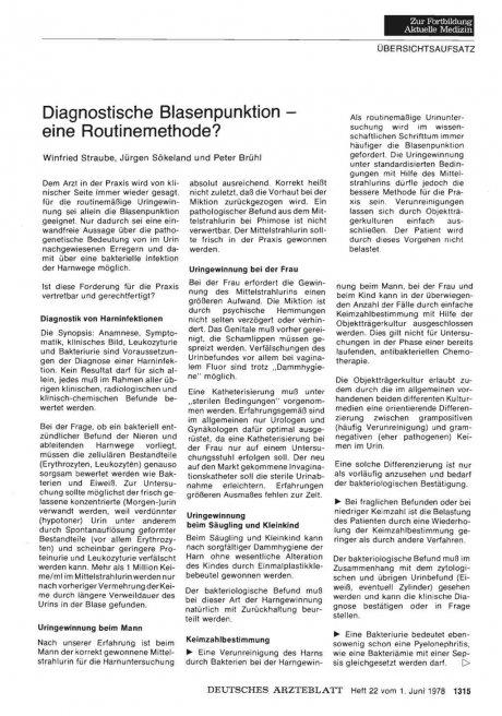 Diagnostische Blasenpunktion — eine Routinemethode?