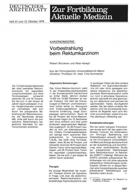 KARZINOMSERIE: Vorbestrahlung beim Rektumkarzinom