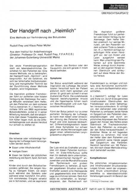 """Der Handgriff nach """"Heimlich"""": Eine Methode zur Verhinderung des Bolustodes"""