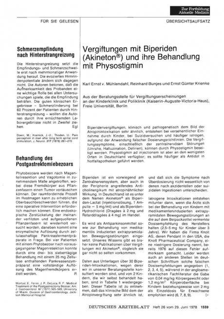Vergiftungen mit Biperiden (Akineton®) und ihre Behandlung mit Physostigmin