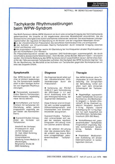 Tachykarde Rhythmusstörungen beim WPW-Syndrom