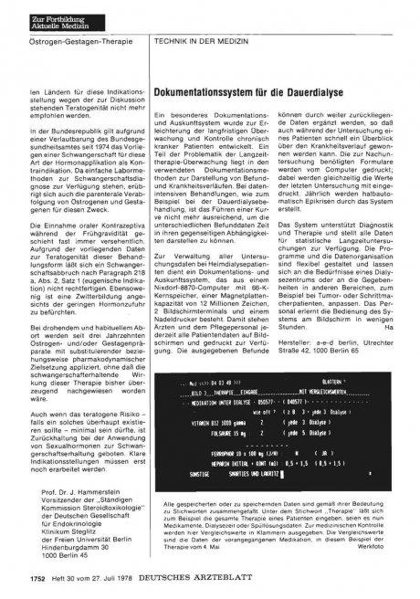 Dokumentationssystem für die Dauerdialyse