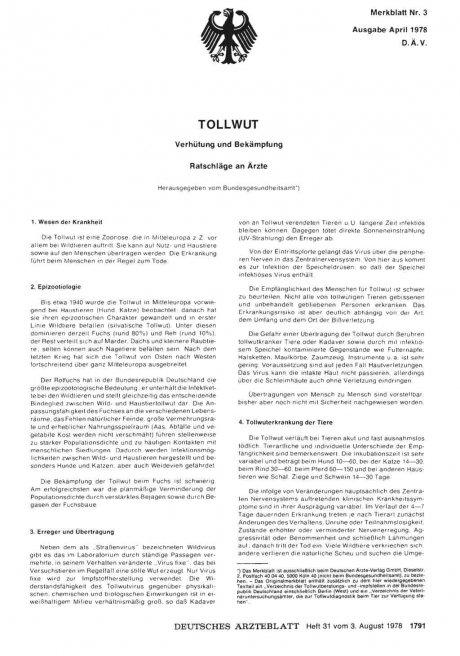 Merkblatt Nr. 3: TOLLWUT: Verhütung und Bekämpfung, Ratschläge an Ärzte
