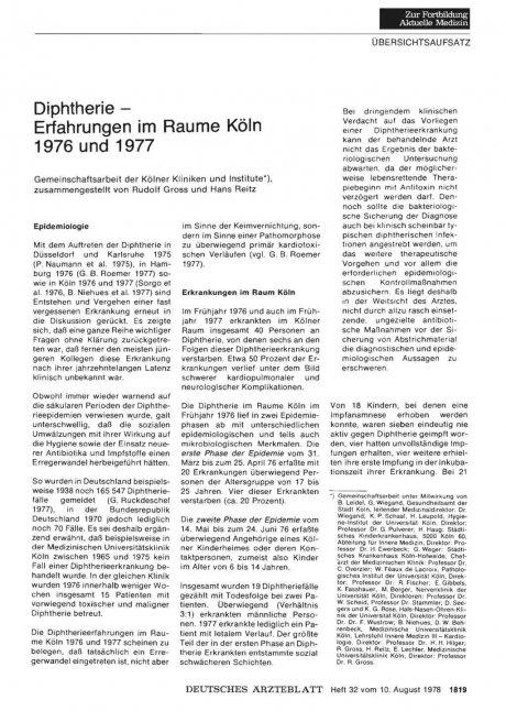 Diphtherie — Erfahrungen im Raume Köln 1976 und 1977