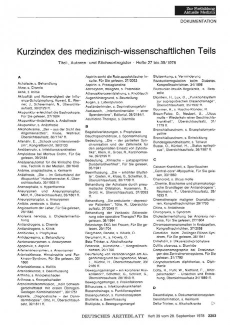 Kurzindex des medizinisch-wissenschaftlichen Teils: Titel-, Autoren- und Stichwortregister • Hefte 27 bis 39/1978