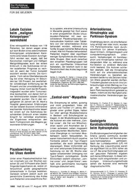 Arteriosklerose, Hirnatrophie und Parkinson-Syndrom