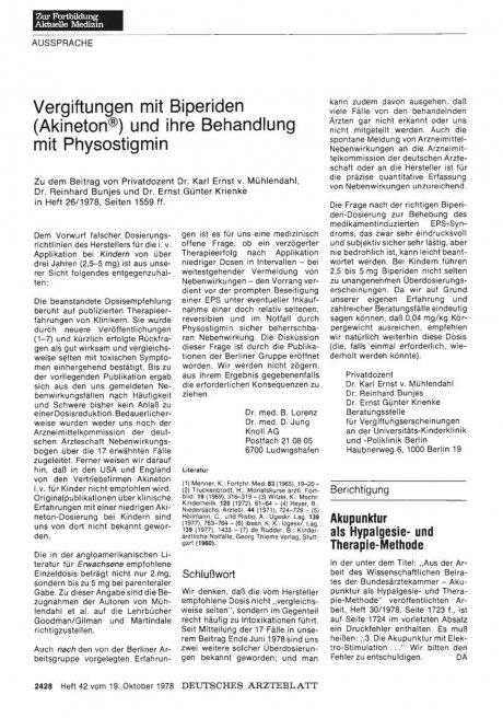 Vergiftungen mit Biperiden (Akineton®) und ihre Behandlung mit Physostigmin: Stellungnahme