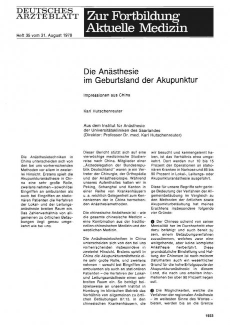 Die Anästhesie im Geburtsland der Akupunktur
