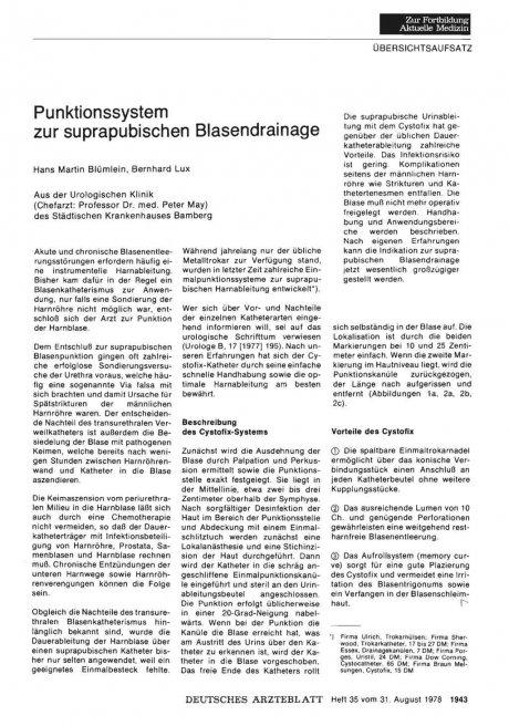 Punktionssystem zur suprapubischen Blasendrainage