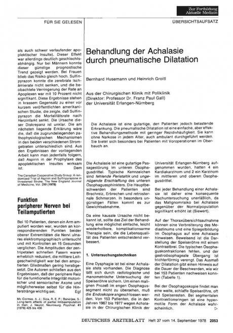 Behandlung der Achalasie durch pneumatische Dilatation