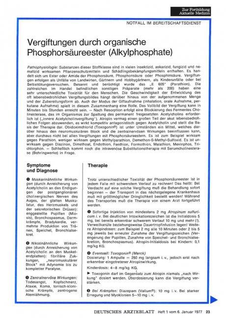 Vergiftungen durch organische Phosphorsäureester (Aikylphosphate)