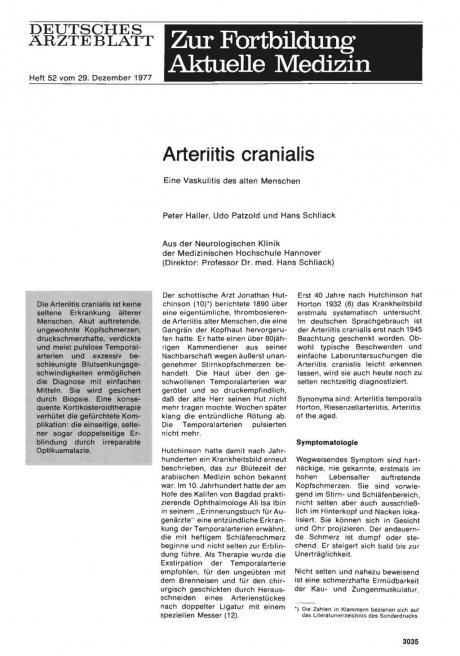 Arteriitis cranialis: Eine Vaskulitis des alten Menschen