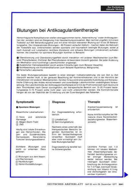 Blutungen bei Antikoagulantientherapie