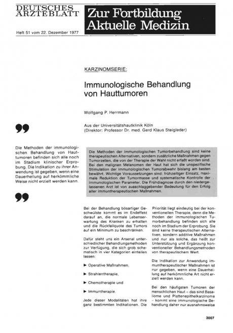 KARZINOMSERIE: Immunologische Behandlung von Hauttumoren