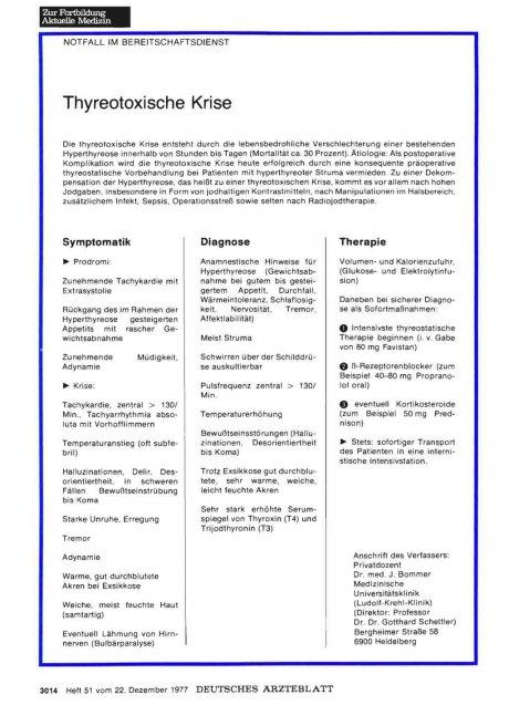NOTFALL IM BEREITSCHAFTSDIENST: Thyreotoxische Krise