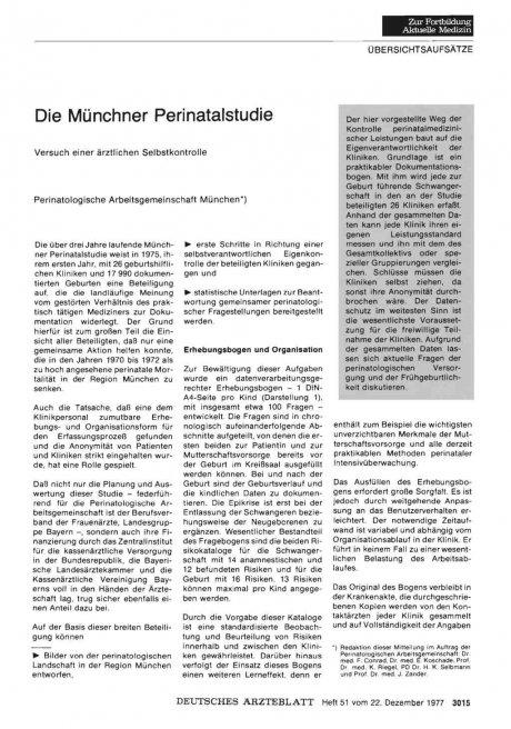 Die Münchner Perinatalstudie