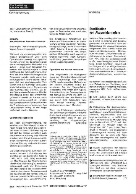 Sterilisation von Akupunkturnadeln