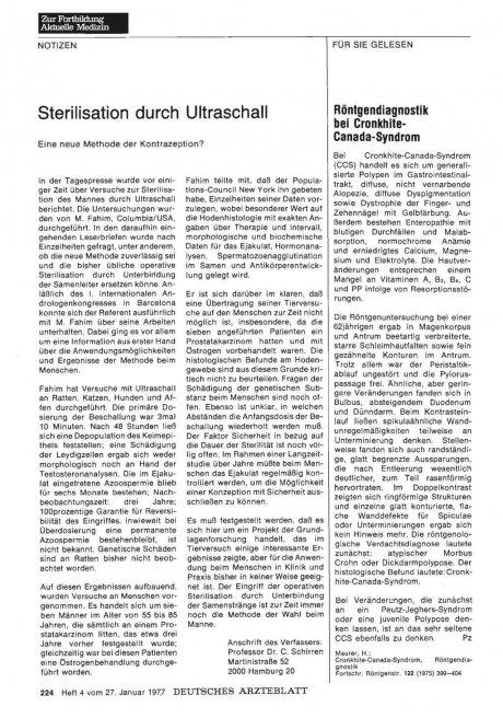 Sterilisation durch Ultraschall