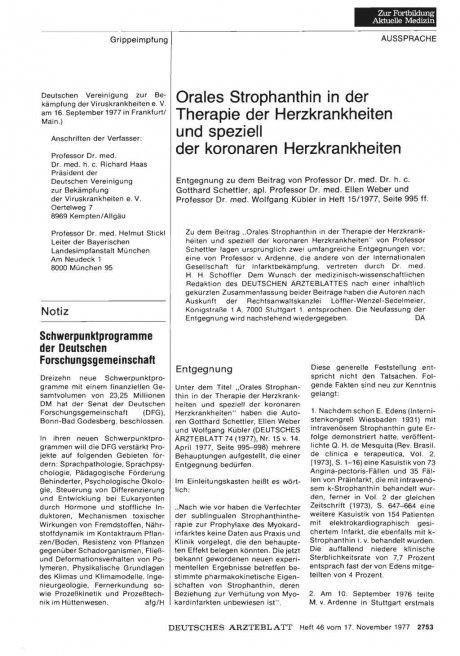 Orales Strophanthin in der Therapie der Herzkrankheiten und speziell der koronaren Herzkrankheiten: Aus der Redaktion