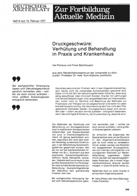 Druckgeschwüre: Verhütung und Behandlung in Praxis und Krankenhaus
