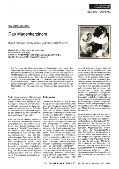 KARZINOMSERIE: Das Magenkarzinom
