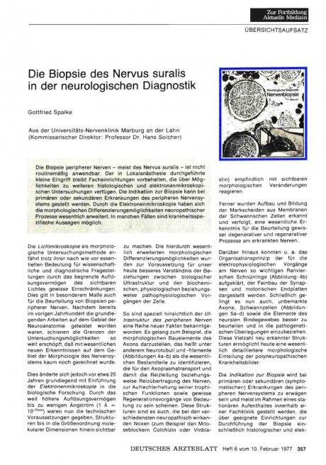 Die Biopsie des Nervus suralis in der neurologischen Diagnostik