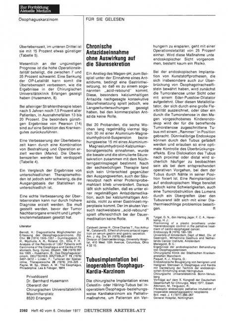 Tubusimplantation bei inoperablem ösophagus- Kardia-Karzinom