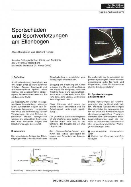 Sportschäden und Sportverletzungen am Ellenbogen