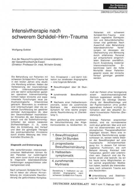 Intensivtherapie nach schwerem Schädel- Hirn- Trauma