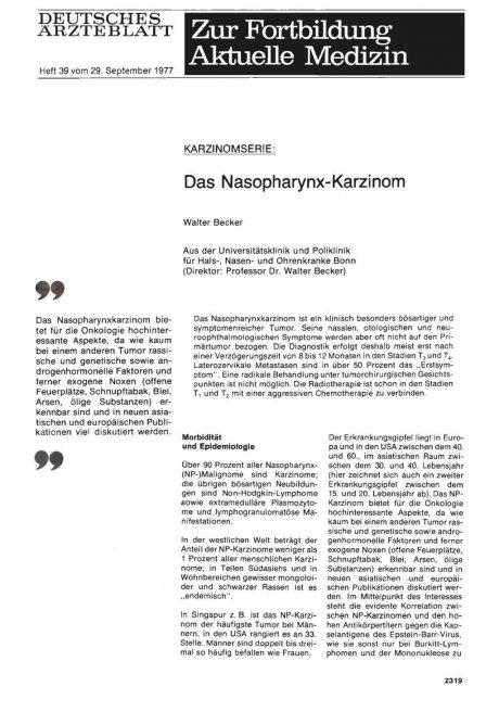 KARZINOMSERIE: Das Nasopharynx-Karzinom