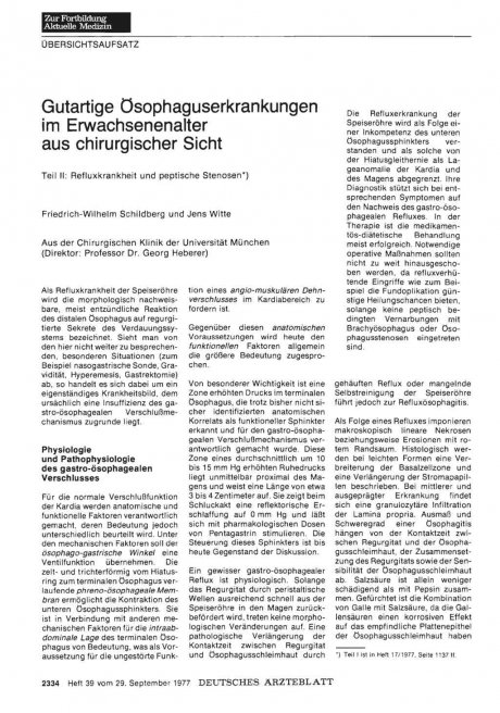 Gutartige Osophaguserkrankungen im Erwachsenenalter aus chirurgischer Sicht - Teil II: Refluxkrankheit und peptische Stenosen