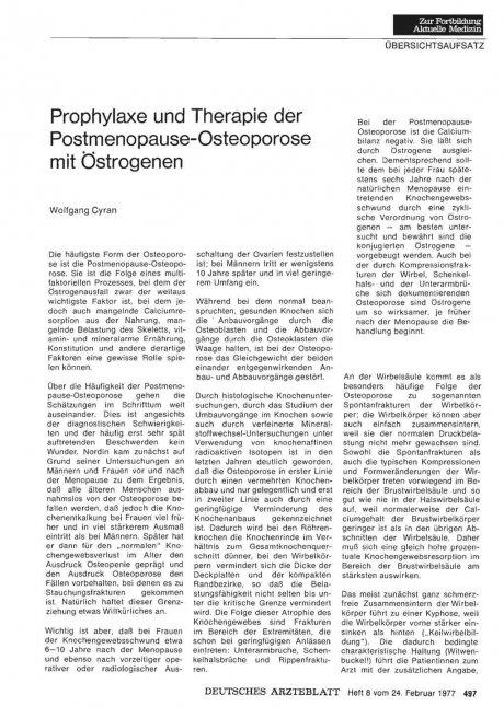 Prophylaxe und Therapie der Postmenopause-Osteoporose mit Östrogenen