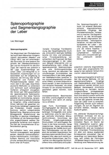 Splenoportographie und Segmentangiographie der Leber