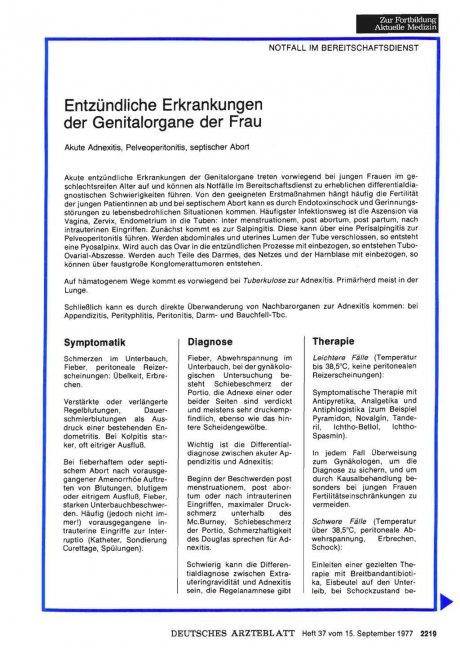Entzündliche Erkrankungen der Genitalorgane der Frau: Akute Adnexitis, Pelveoperitonitis, septischer Abort