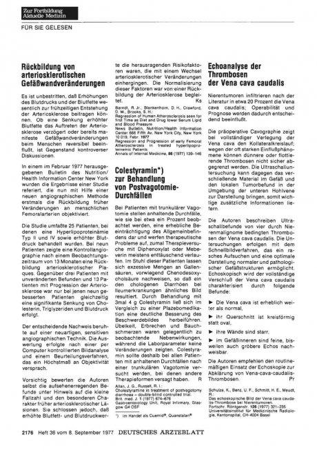 Colestyramin*) zur Behandlung von PostvagotomieDurchfällen