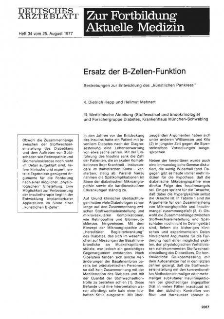 """Ersatz der B-Zellen-Funktion: Bestrebungen zur Entwicklung des """"künstlichen Pankreas"""""""