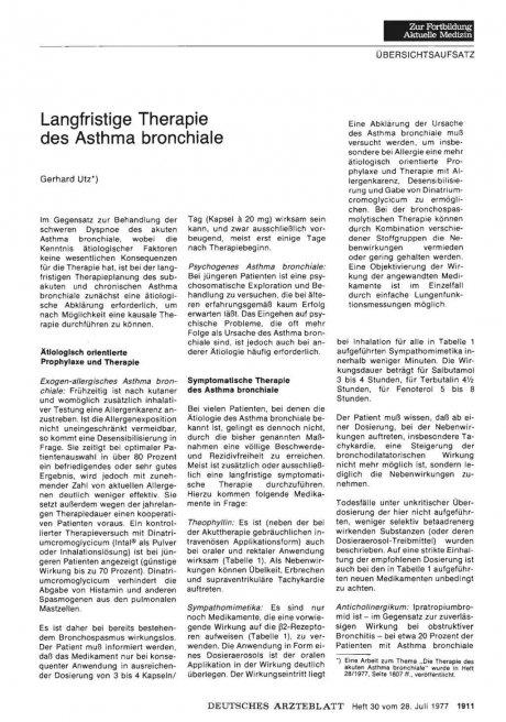 Langfristige Therapie des Asthma bronchiale