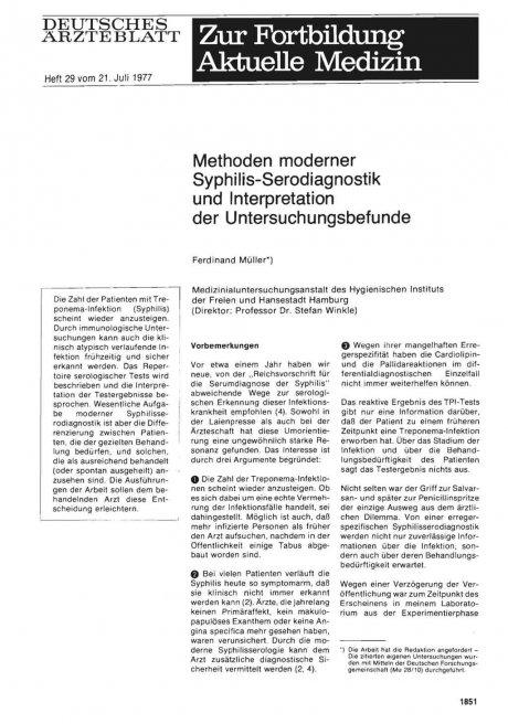Methoden moderner Syphilis-Serodiagnostik und Interpretation der Untersuchungsbefunde