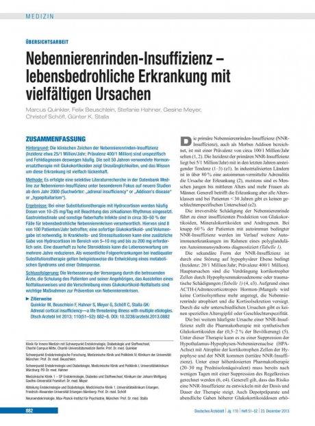 Nebennierenrinden-Insuffizienz – lebensbedrohliche Erkrankung mit vielfältigen Ursachen