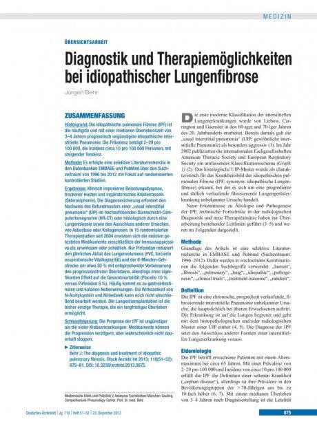 Diagnostik und Therapiemöglichkeiten bei idiopathischer Lungenfibrose