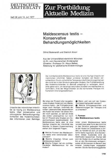 Maldescensus testis — Konservative Behandlungsmöglichkeiten