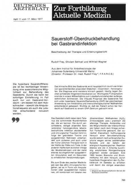 Sauerstoff-Überdruckbehandlung bei Gasbrandinfektion