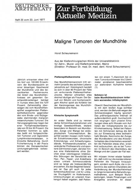 Karzinomserie: Maligne Tumoren der Mundhöhle