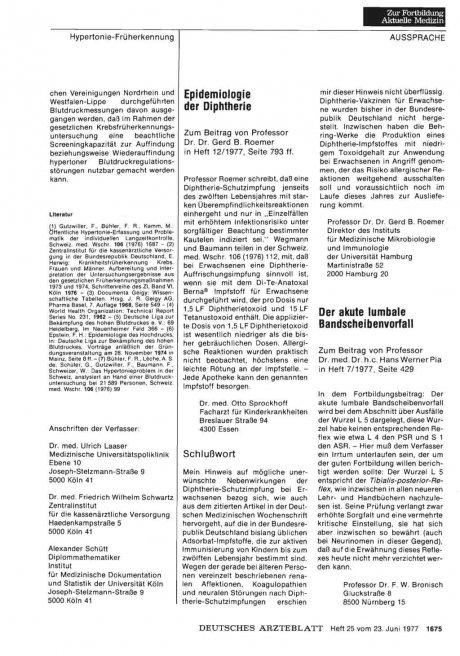 Der akute lumbale Bandscheibenvorfall: Stellungnahme