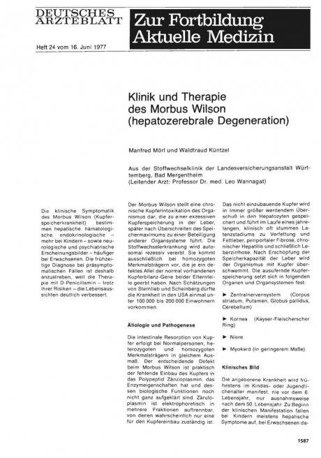 Klinik und Therapie des Morbus Wilson (hepatozerebrale Degeneration)