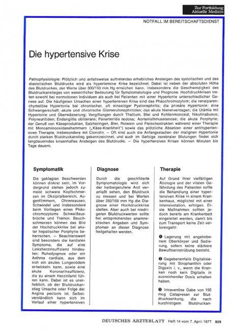 Die hypertensive Krise