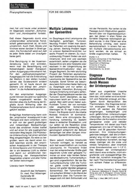 Diagnose künstlichen Fiebers durch Messen der Urintemperatur